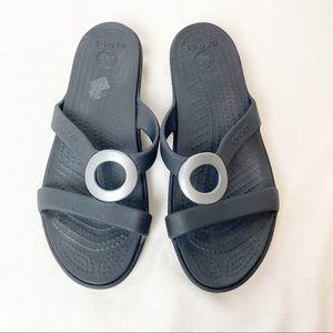 Crocs black slide sandals 6